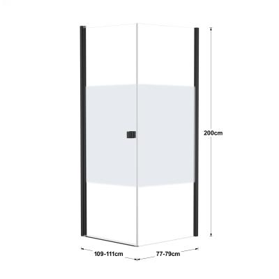 Doccia con porta battente e lato fisso Neo 69 - 71 x 77 - 79 cm, H 200 cm vetro temperato 6 mm serigrafato/nero