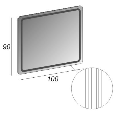 Specchio retroilluminato Led 100 x 90 cm