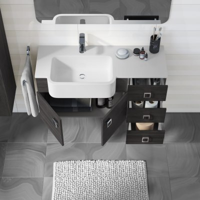 Mobile bagno Florida grigio scuro L 100 cm