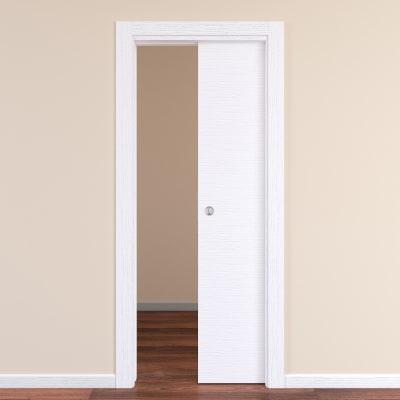 Porta da interno scorrevole Plaza Frassino bianco 80 x H 210 cm reversibile