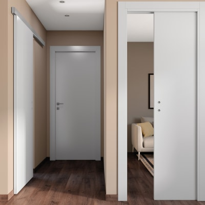Porta da interno battente One white bianco 90 x H 210 cm reversibile