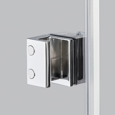 Doccia con porta battente e lato fisso Neo 77 - 79 x 77 - 79 cm, H 200 cm vetro temperato 6 mm trasparente/cromo PVD