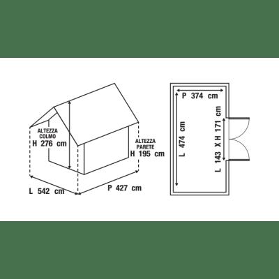 casetta in legno grezzo Esprit 17,73 m², spessore 28 mm
