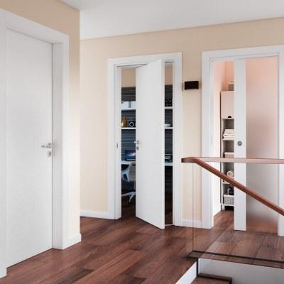 Porta da interno battente Plaza Frassino bianco 60 x H 210 cm reversibile