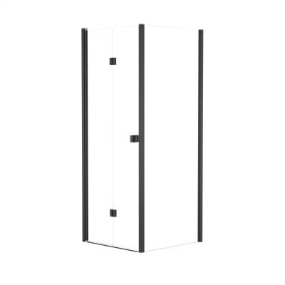 Doccia con porta pieghevole e lato fisso Neo 77 - 81 x 77 - 79 cm, H 201,7 cm vetro temperato 6 mm trasparente/nero