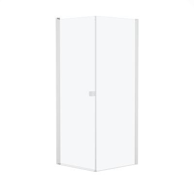 Doccia con porta battente e lato fisso Neo 89 - 91 x 77 - 79 cm, H 200 cm vetro temperato 6 mm bianco opaco