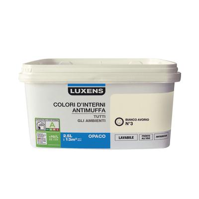 Idropittura lavabile Antimuffa Bianco Avorio 3 2,5 L Luxens