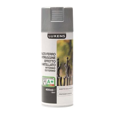 Smalto per ferro antiruggine spray Luxens argento martellato 0,4 L