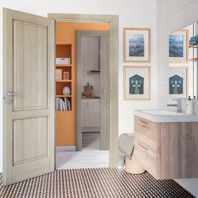 Porta da interno scorrevole Vermeer rovere sbiancato 80 x H 210 cm sx