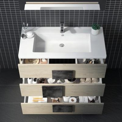 Mobile bagno Bark olmo naturale L 105 cm
