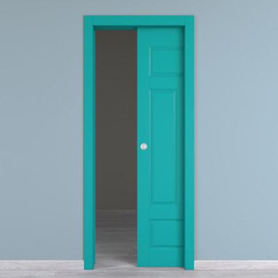Porta da interno scorrevole Coconut Groove azzurro 80 x H 210 cm reversibile