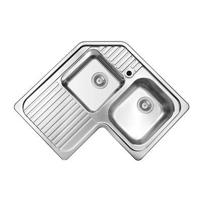 Lavello incasso L 83 x P  83 cm 2 vasche DX + gocciolatoio