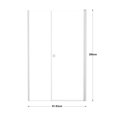Doccia con porta battente lato fisso in linea e lato fisso Neo 91 - 93 + 40 cm, H 200 cm vetro temperato 6 mm trasparente/bianco opaco