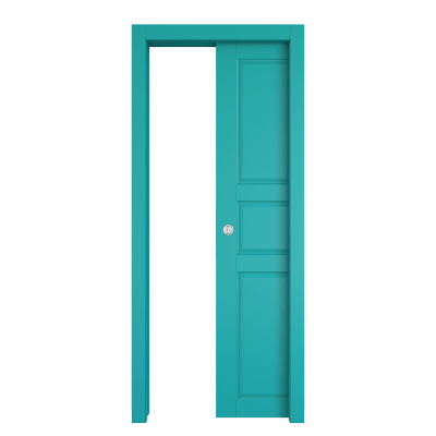 Porta da interno scorrevole New York azzurro 80 x H 210 cm reversibile