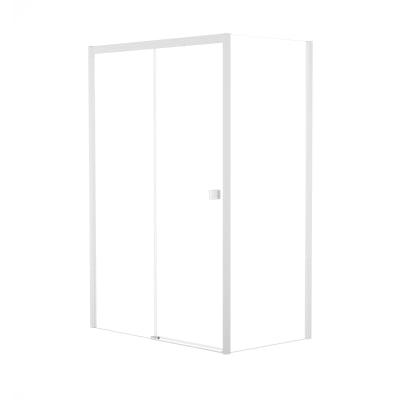 Doccia con porta scorrevole e lato fisso Neo 122 - 126 x 77 - 79 cm, H 200 cm vetro temperato 6 mm trasparente/bianco opaco