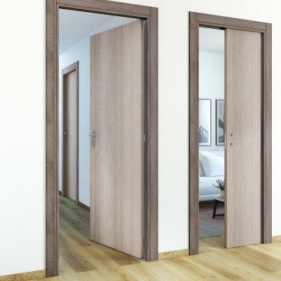 Porta da interno scorrevole One frassino/brown 70 x H 210 cm reversibile