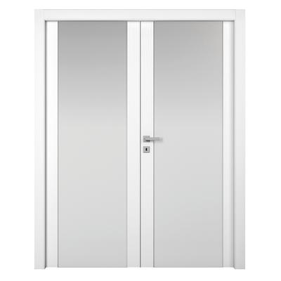 Porta da interno battente Plaza 2 Ante Frassino Bianco 180 x H 210 cm sx