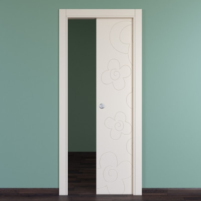 Porta da interno scorrevole Flower ivory avorio 70 x H 210 cm reversibile