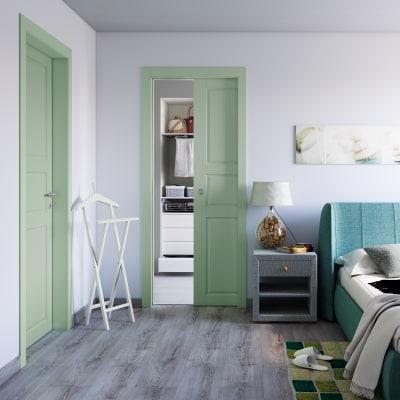 Porta da interno battente New York verde 80 x H 210 cm sx