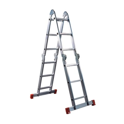 Scala snodata multifunzione alluminio Facal 3+3+3+3 gradini, per lavori fino a 4,6 m