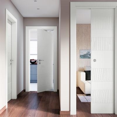 Porta da interno scorrevole Fence bianco 70 x H 210 cm reversibile