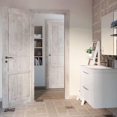 Porta da interno battente Old Town bianco sbiancato 80 x H 210 cm reversibile