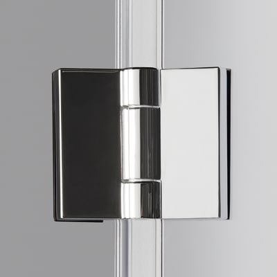 Doccia con porta pieghevole e lato fisso Neo 82 - 86 x 77 - 79 cm, H 201,7 cm vetro temperato 6 mm fumè/silver