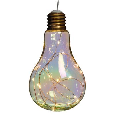 Decorazione luminosa a lampadina 15 minilucciole Led classica gialla H 12 cm