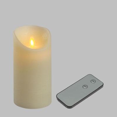 Candela avorio con telecomando 1 minilucciole Led classica gialla H 15 cm
