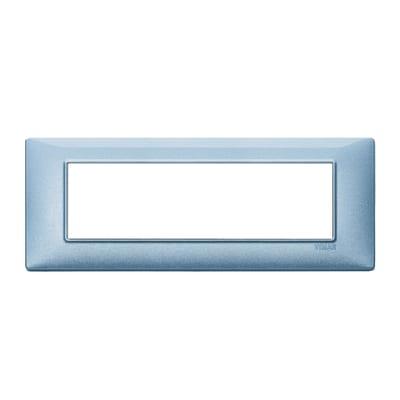 Placca 7 moduli Vimar Plana blu metallizzato