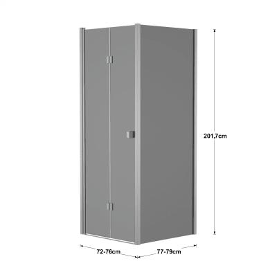 Doccia con porta pieghevole e lato fisso Neo 72 - 76 x 77 - 79 cm, H 201,7 cm vetro temperato 6 mm fumè/silver