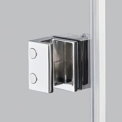 Doccia con porta battente e lato fisso Neo 71 - 73 x 77 - 79 cm, H 200 cm vetro temperato 6 mm cromo PVD