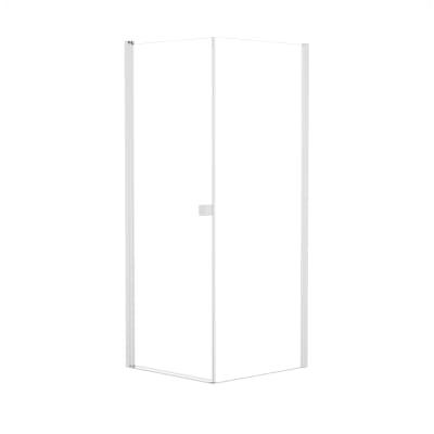Doccia con porta battente e lato fisso Neo 73 - 75 x 77 - 79 cm, H 200 cm vetro temperato 6 mm trasparente/bianco opaco