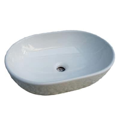 Lavabo da appoggio ovale Chiure L 58 x P 40 x H  14 cm bianco