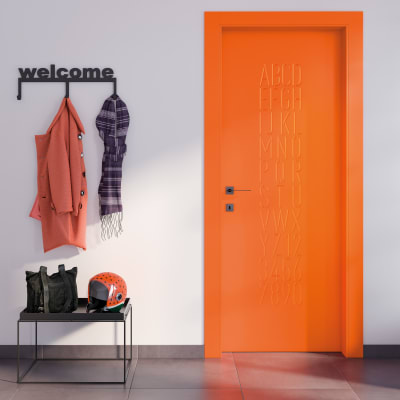 Porta da interno rototraslante Keyboard orange arancio 80 x H 210 cm sx