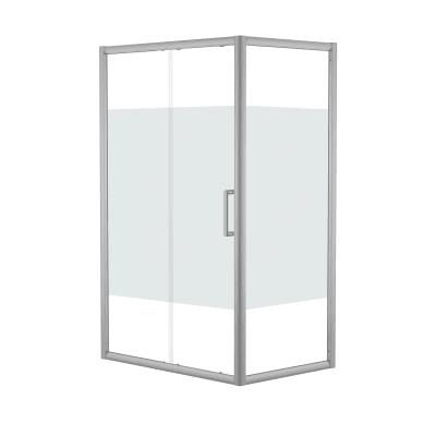 Doccia con porta scorrevole e lato fisso Quad 147.5 - 150,5 x 77.5 - 79 cm, H 190 cm cristallo 6 mm serigrafato/silver