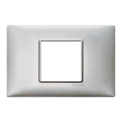 Placca 2 moduli Vimar Plana argento metallizzato
