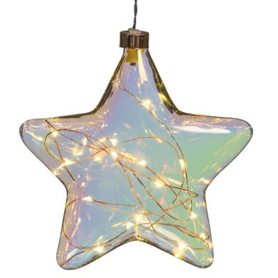 Decorazione luminosa a stella 15 minilucciole Led classica gialla L 18 cm