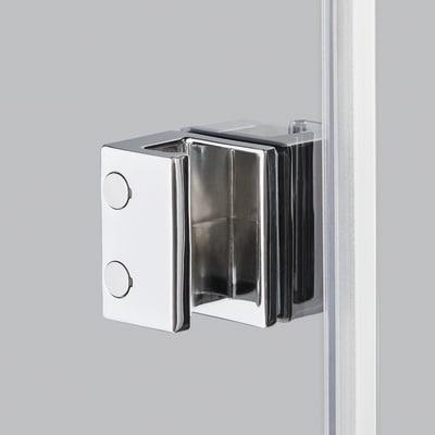 Doccia con porta battente e lato fisso Neo 99 - 101 x 77 - 79 cm, H 201,7 cm vetro temperato 6 mm trasparente/nero