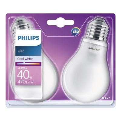 2 lampadine LED Philips E27 =40W goccia luce naturale 360°