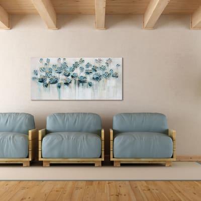 Quadro dipinto a mano fiori azzurri 60x120 prezzi e for Leroy merlin quadri tela