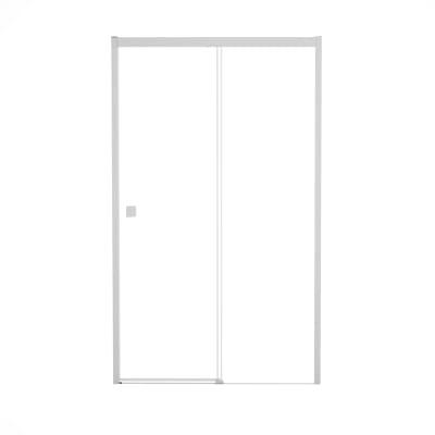 Porta doccia scorrevole Neo Plus 147-149, H 200 cm vetro temperato 6 mm trasparente/bianco opaco