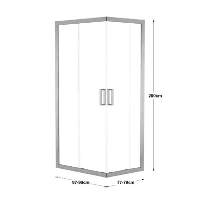 Box doccia scorrevole Charm 77-79 x 97-99, H 200 cm cristallo 6 mm trasparente/silver