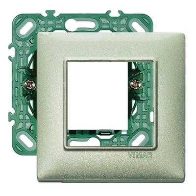 Placca 2 moduli Vimar Plana verde metalizzato