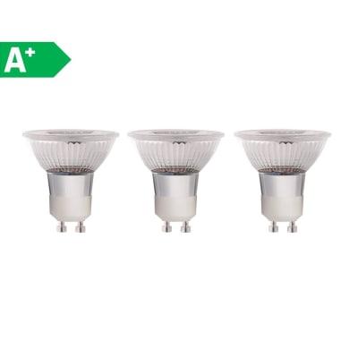 3 lampadine LED Glass GU10 =50W luce naturale 100°