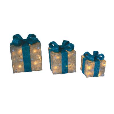Set 3 pacchi regalo luminosi color argento 50 Led Bianco Diamond