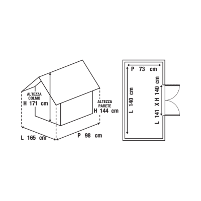 casetta in legno Lerici 1,02 m², spessore 14 mm