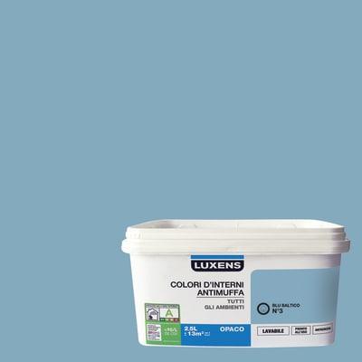 Idropittura lavabile Antimuffa Blu Baltico 3 - 2,5 L Luxens