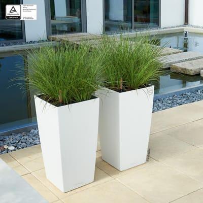 Vaso Cubico Color con set autoirrigazione Lechuza 30 x 30 cm bianco