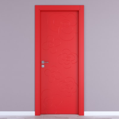 Porta da interno battente Flower red rosso 60 x H 210 cm dx